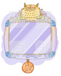 图片素材 幼儿 线稿/猫头鹰挂钟(含线稿)