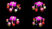 动态 背景 黑色/黑色背景礼品盒动态视频素材