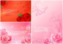 素材/粉色系玫瑰背景素材