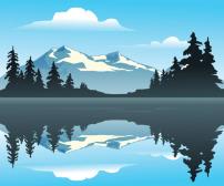 风景 雪峰/雪山山脉的湖光倒影