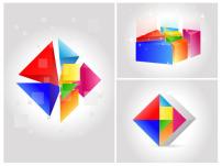 素材 背景/矢量素材七彩立体几何图形背景