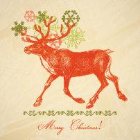 清新/精美圣诞节麋鹿矢量素材