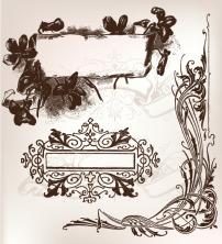 边框 花纹/矢量欧式黑白花纹边框