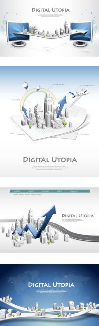城市网络信息商务海报矢量图