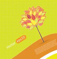 背景 矢量/矢量手绘树叶橙色海报背景