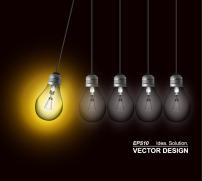 素材 灯泡/炫彩光晕创意灯泡矢量素材