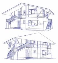 矢量城市建筑素描手稿图片eps