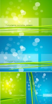 矢量蓝绿光斑线条背景素材