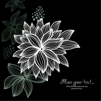 素材 纹样/矢量线条黑白花朵纹样素材