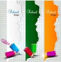 素材/学习铅笔对话框背景矢量素材