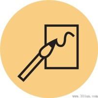 图标 纸张/毛笔和纸张图标
