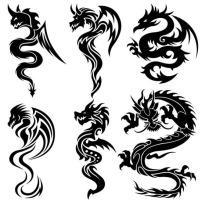纹样/龙形纹样剪影图案素材