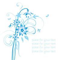 素材 花草/矢量淡蓝线条手绘花草素材