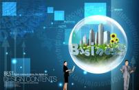 素材 商务/数字科技蓝色商务PSD分层素材