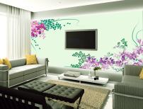 背景/紫藤花室内电视背景墙墙纸素材背景模板