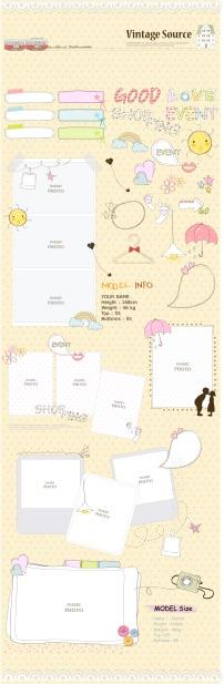 韩国手绘卡通系列信纸对话框