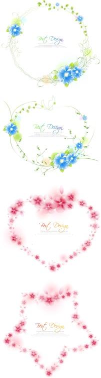 花朵组成的星星心形圆形