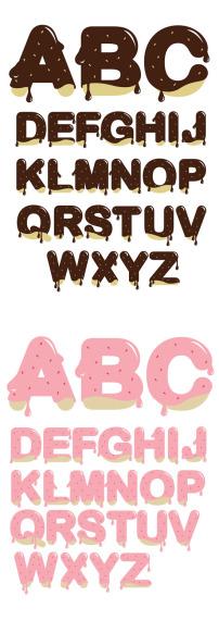 巧克力浇汁英文字母矢