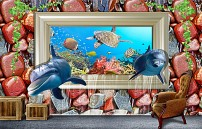 卡通 海底世界/3D壁画海底世界海豚