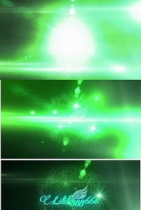 绿色粒子爆炸特效logo文字片头ae模板