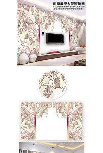 唯美 背景墙 淡色/全矢量淡色唯美素描花卉背景墙装饰画