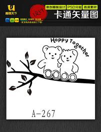 卡通 熊猫/熊猫娃娃墙贴镂空雕刻剪纸花纹卡通矢量图