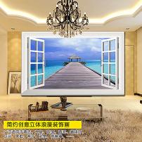 风景/3d窗户窗子风景大海木桥电视背景墙