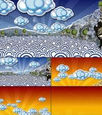 卡通/卡通树太阳海浪...