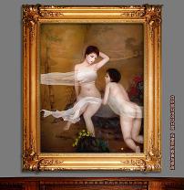 古画前的少女新古典主义油画