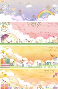 卡通 彩虹/卡通梦幻世界花纹 彩虹图片