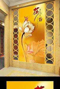 手绘立体葵花油画玄关过道门厅背景墙效果图模板下载