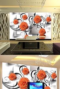 3d立体方块郁金香背景墙装饰画模板下载(图片编号:)