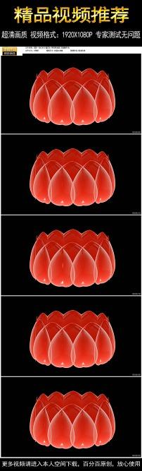 一朵红色莲花台视频带透明通道无缝循环