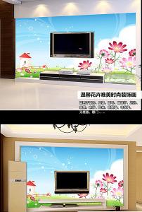 全矢量绿色梦幻花卉电视墙背景图