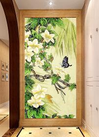 中式风格房间背景墙装修效果图 玄关 绿色花卉山水国画工