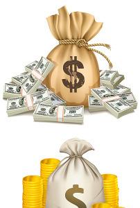美金钱袋钱包矢量图模板下载(图片编号:12045478)
