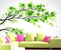 黄金树花纹地质树叶花朵剖面房子沙发梦幻墙电视背景客厅的绘制图片