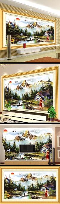 高山流水风景油画电视背景墙设计