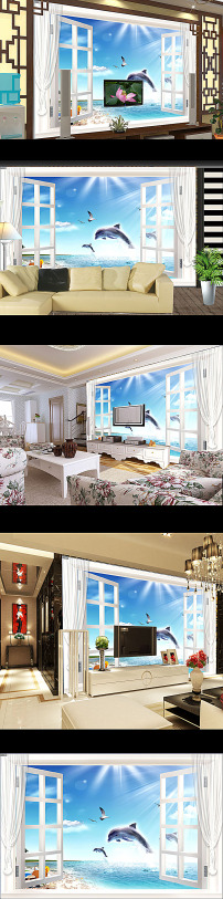 客厅3d窗外大海风景电视背景墙图片