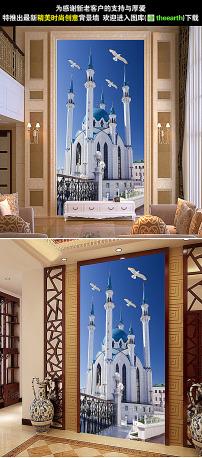 浪漫欧式建筑古城堡玄关背景墙装饰