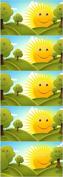 卡通太阳公公大树笑眯眯高清视频
