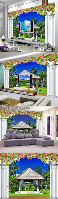 欧式3d柱子风景画电视背景墙