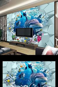 背景墙/3D壁画背景墙海底世界立体画
