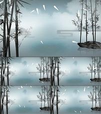 中国风水墨荷花鱼led动态视频素材图片