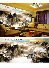 背景墙/山水风景水墨画沙发电视背景墙