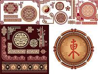 古典中式花纹花边矢量图图片
