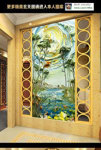 手绘立体油画风景画壁画玄关过道门厅效果图