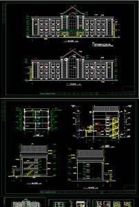 某五层现代办公楼建筑施工图cad图纸模板下载(图片:)