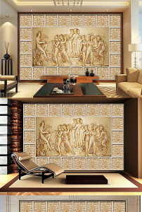 欧式古典复古风格大理石玫瑰背景墙