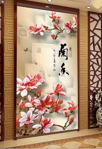 背景墙 立体/3D立体工笔画玉兰花玄关背景墙